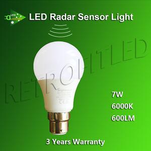 LED SMART LIGHT RADAR SENSOR LAMP 7W GLOBE B22 BAYONET 600LM COOL WHITE