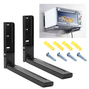 2 X Microwave Black Wall Mounting Holder Brackets With Extendable Arms 40kg load