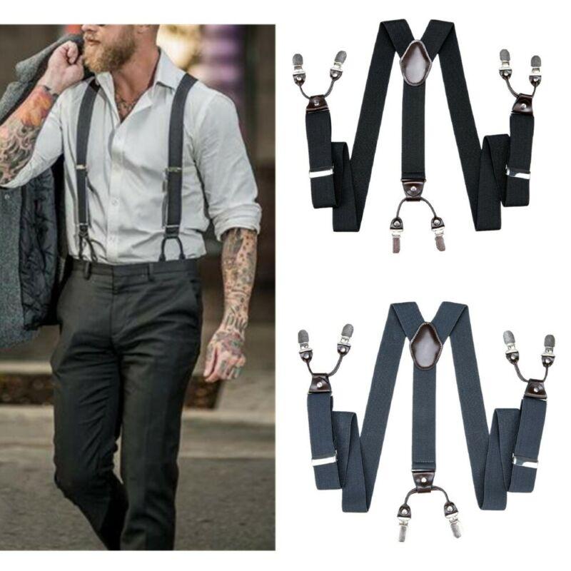 Men 35mm Wide 6 Clips Braces Plain Black Grey Heavy Duty Suspenders Adjustable