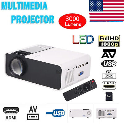 W10 Full 1080P HD LCD Home Theater Projector Multimedia 3000 Lumens 1000:1 Y4L8