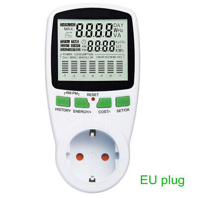 Eu Electricity Power Consumption Meter Energy Monitor Watt Kwh Power Analyzer