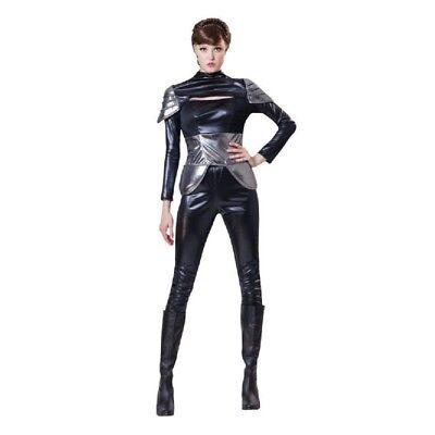 Spy Lady - Costume Fancy Dress Womens Ladies Black Outfit Futuristic Womens ()