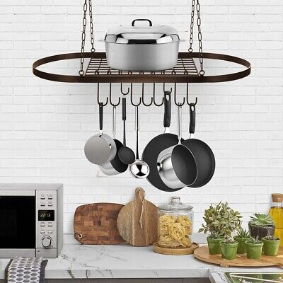 Pot & Pan Hanging Rack For Ceiling With Hooks Multi Purpose Organizer Kitchen US