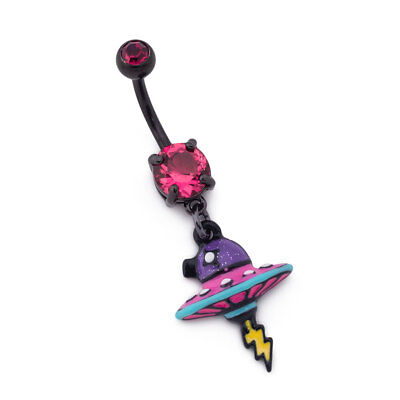 """14g 3/8"""" Neon Spacecraft Jeweled PVD Black Dangle Belly Button Ring"""