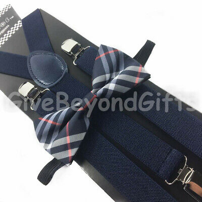 Suspender and Bow Tie Adults Men Navy Blue Plaid Wedding Formal Wear Accessories