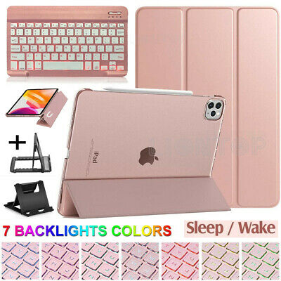 For iPad Pro 11 2020/7th Gen 10.2/Air 10.5 Backlit Keyboard+Leather Case+Stand