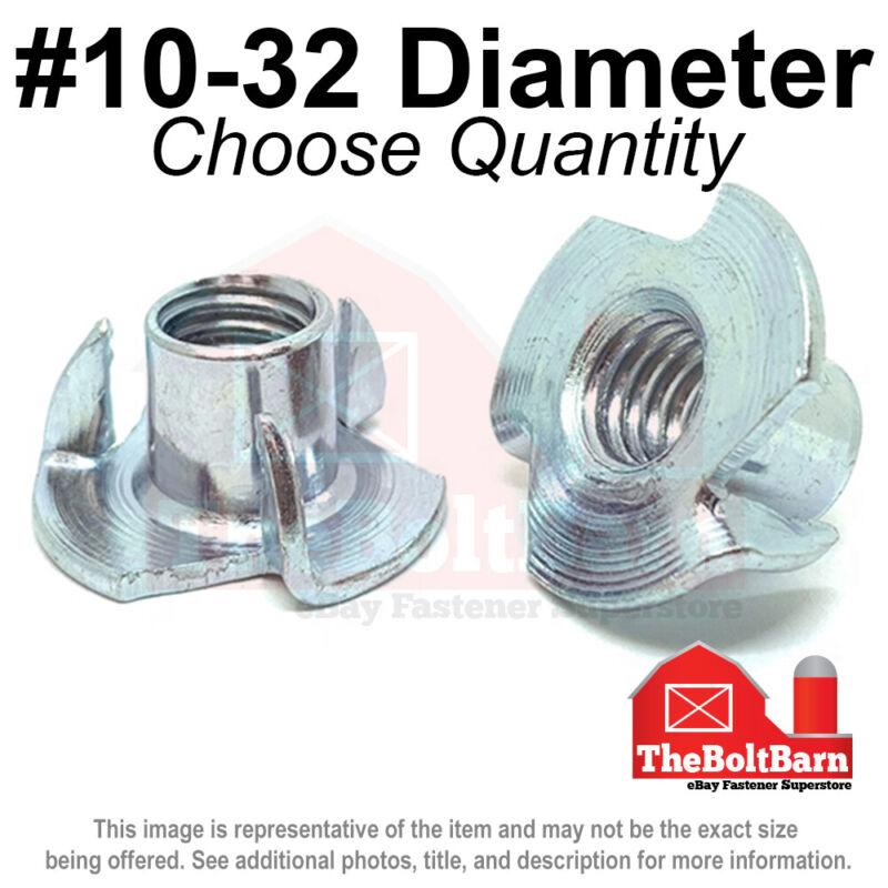 #10-32 Steel 3 Prong T Nuts Tee Zinc Plated FINE Thread (Pick Quantity)