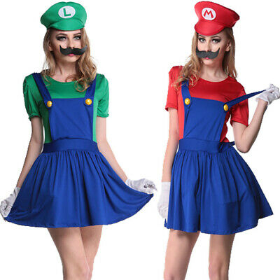 Damen Karneval Kostüm Super Mario Luigi Bro Träger Kleid Rock Cosplay Fasching