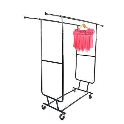 New Heavy Duty Steel Double Rail Adjustable Rolling Clothing Garment Rack
