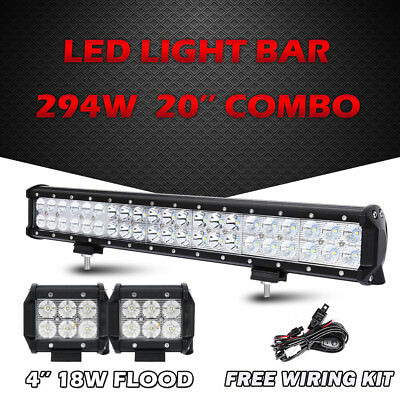 "20"" 294W Cree LED Work Light Bar Combo 4X4WD ATV Boat FREE 2x 4"" 18W Flood Pods"