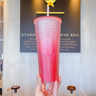 Starbucks China 2021 Summer Gradient Pink Studded 24oz Straw Cold Cup Tumbler