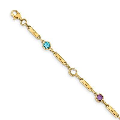 14k Yellow Gold Multi Gemstone Link Bracelet Fine Jewelry Women Gifts Her