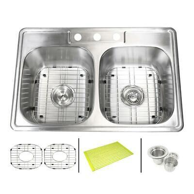 "eModernDecor Topmount Drop In Stainless Steel 33""x 22""x 9""  3 Hole Kitchen Sink"