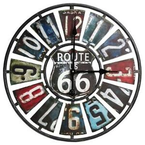 NEW Taylor Precision Products Route 66 License Plate Design Metal Clock (22-Inch, Multi Color) Condtion: New, 22-Inch...