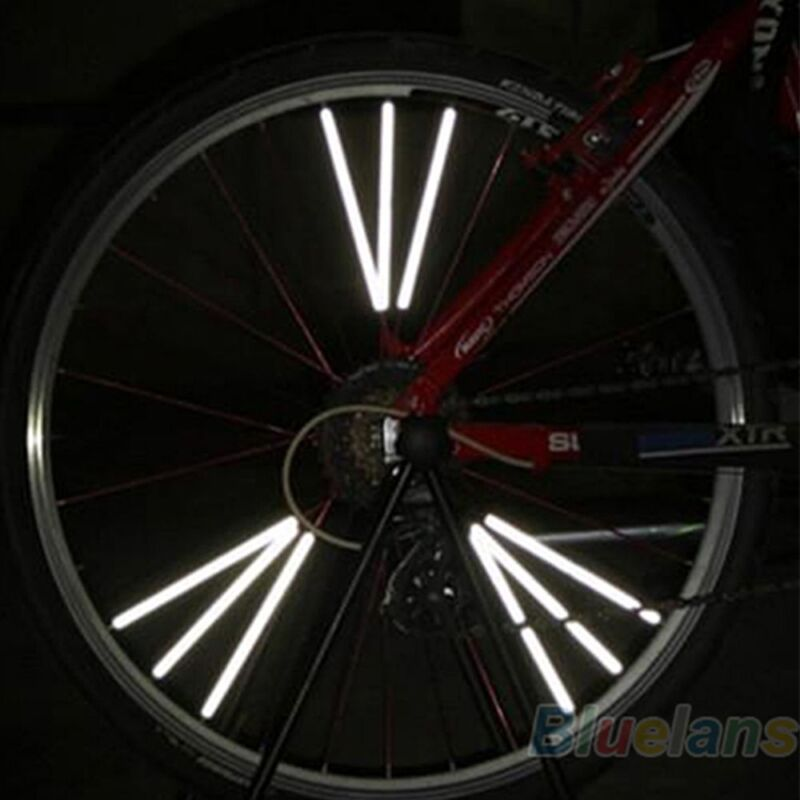 12pcs New Reflector Bicycle Wheel Rim Spoke Mount Bike Warning Light Strip Tube
