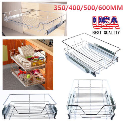 Kitchen Pull-Out Wire Sliding Basket Rack Cabinet Storage Or