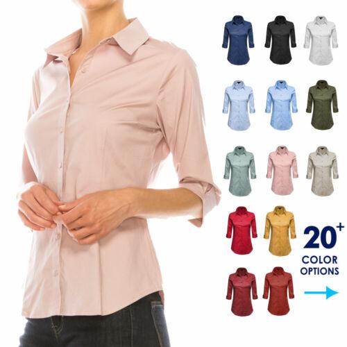 Women Button Down Shirt Blouse 3/4 Sleeve Collared Office Work Dress Top Plus