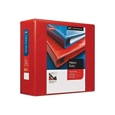 "Staples Heavy Duty 4"" 3-Ring View Binder Red  82661"