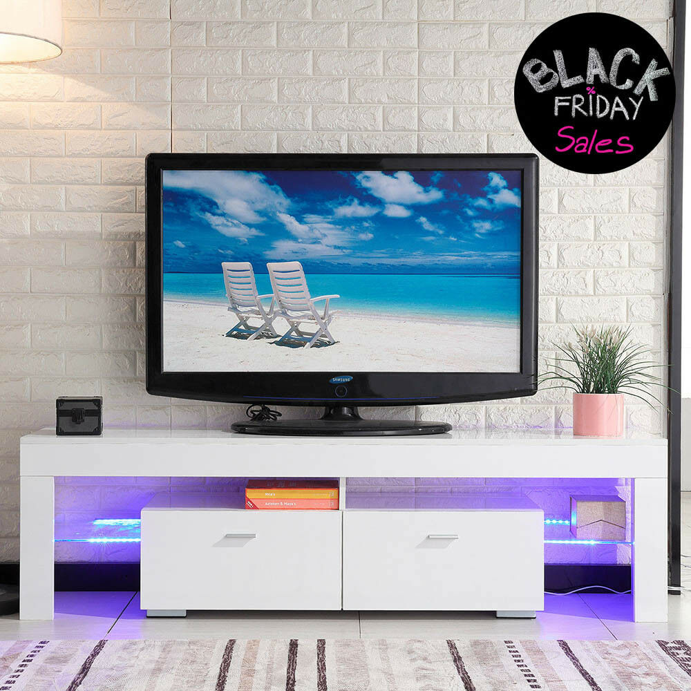 TV Stand High Gloss White Cabinet Console Furniture w/LED Sh