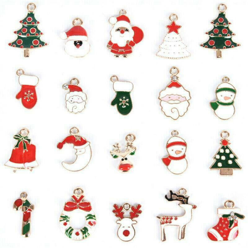 20Pcs Enamel Mixed Christmas Charms Pendant For DIY Jewelry