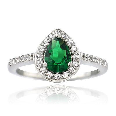 925 Silver Created Green Quartz & White Sapphire Teardrop - Created Green Sapphire Ring