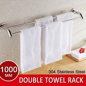 Bathroom Double Towel Rail Rack Holder 2 Bar 1000mm Hanger 304 Stainless Steel