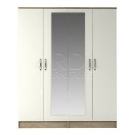 classy 4 door mirrored wardrobe oak and white