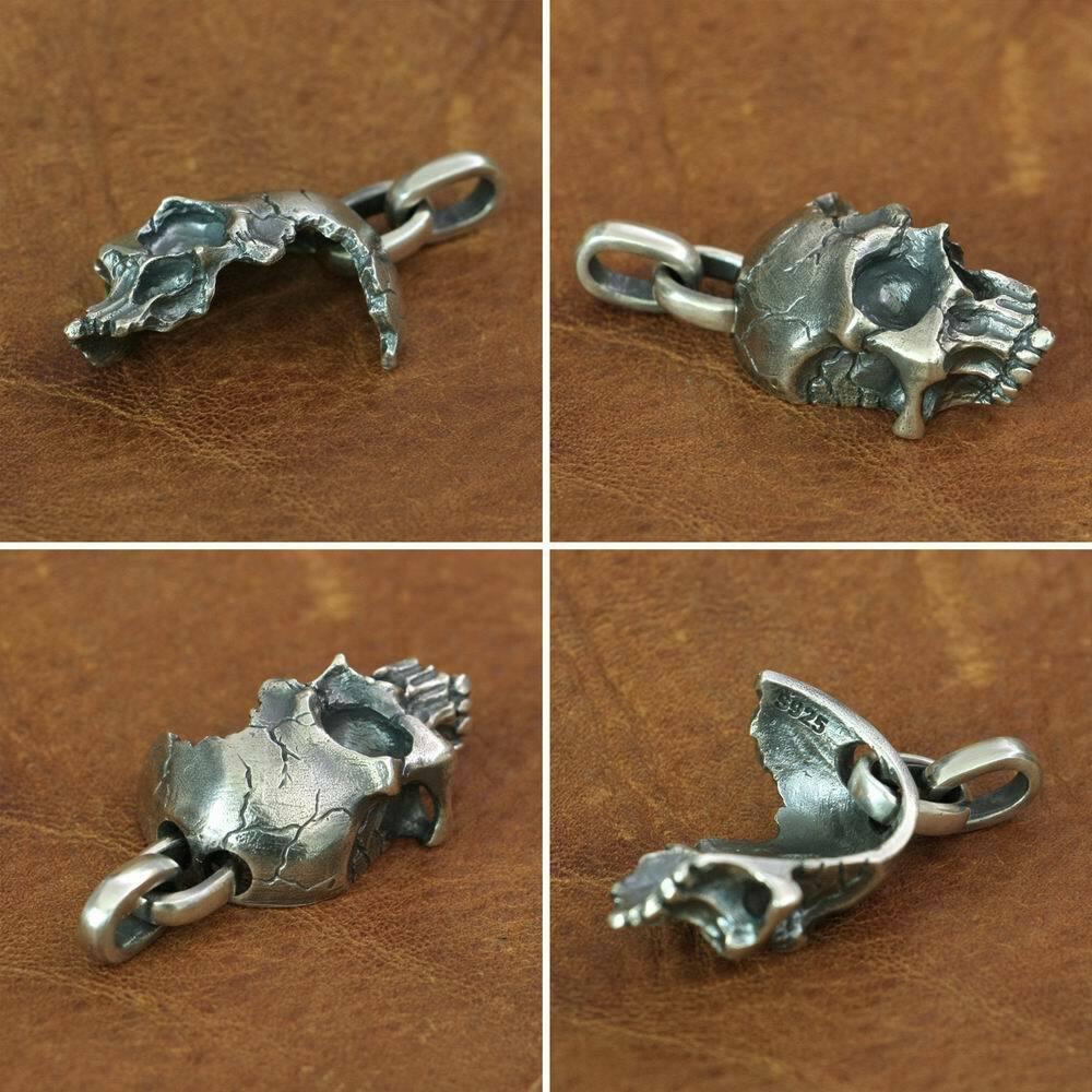 925 Sterling Silver Broken Damaged Half Face Skull Mens Biker Pendant TA152A