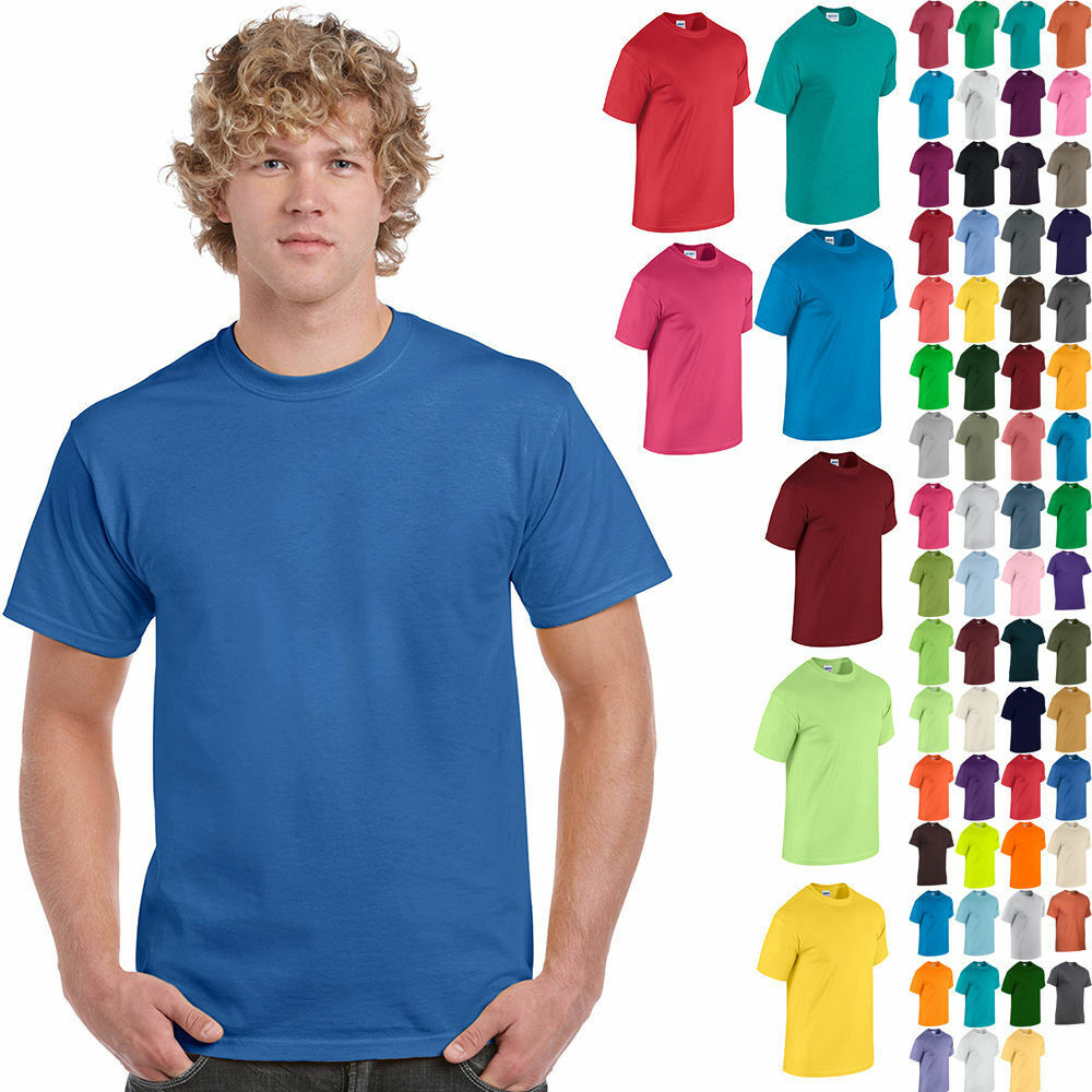 Gildan Plain Cotton T-Shirt Short Sleeve Solid Blank Design