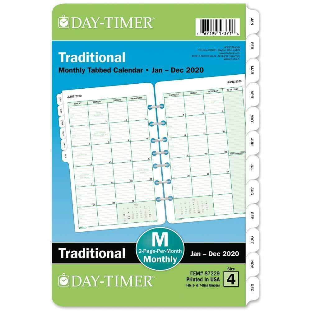 """Day-Timer 2020 Monthly Planner Refill, 5-1/2"""" x 8-1/2"""" Desk"""