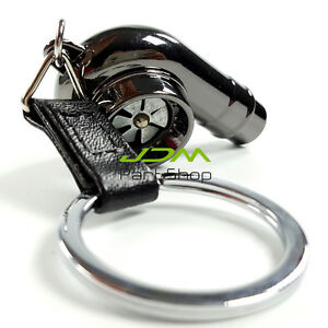 New Spinning Fan Noise Real Sound Turbo Charger Keyring Keychain black chromed