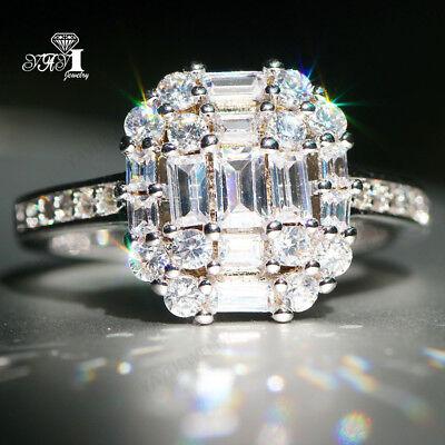 925 Silver Filled White Sapphire Birthstone Wedding Valentine's Day Brand Rings - Valentine Rings