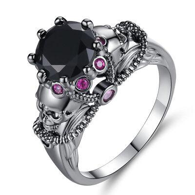 Black & Pink Unique Skull Skeleton Women's Rings Fashion Goth Punk Jewelry -
