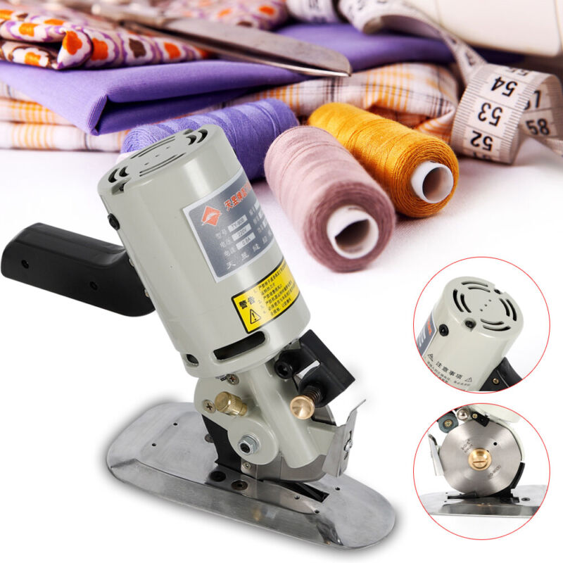 Electric Cloth Textile Cutter Fabric Leather Rotary Blade Scissors Machine 200W