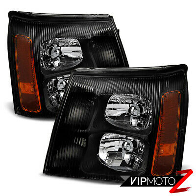 2003 2004 2005 2006 Cadillac Escalade Base EXT BLACK Front Headlights Lamp LH+RH