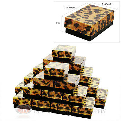 25 Cotton Filled Jewelry Gift Boxes Leopard Print Design 2 58 X 1 12 X1