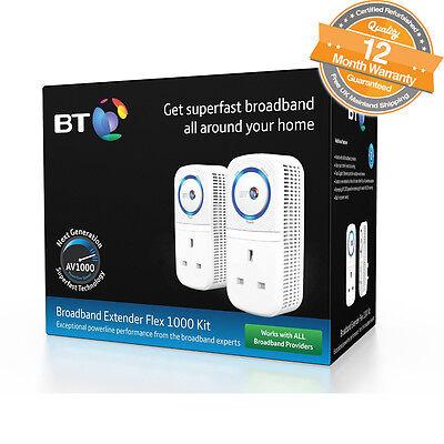BT Broadband Extender Flex 1000 Kit Powerline Adapter Twin Pack