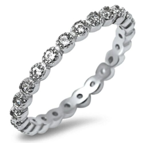 Cubic Zirconia Eternity Band .925 Sterling Silver Ring Sizes