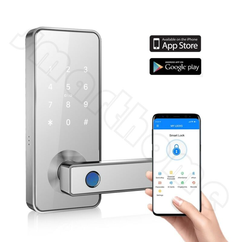 Keyless Entry Door Lock Smart Biometric Fingerprint Door Handle with Bluetooth