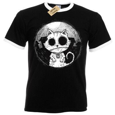 Zombie Katze Herren T-Shirt Ringer Evil Kitty