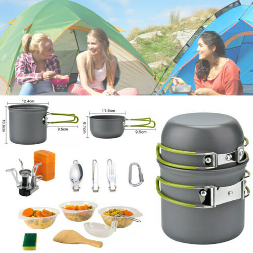 Portable Gas Camping Stove Butane Propane Burner Outdoor Hiking Picnic+Cookware