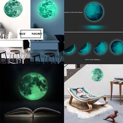 Glow In The Dark Luminous 3D Stars Moon Sticker Home Wall Room Decor DIY (Glow In The Dark Moon)