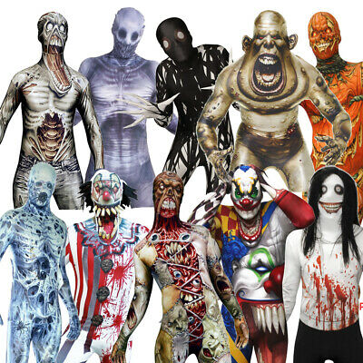 Zombie Clown Halloween Costumes (MORPHSUIT MONSTER ZOMBIE CLOWN PUMPKIN SKELETON ZALGO RAKE HALLOWEEN)