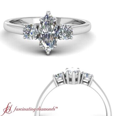 .75 Ctw Marquise Cut Diamond 3 Stone Womens Engagement Ring In 18K White Gold