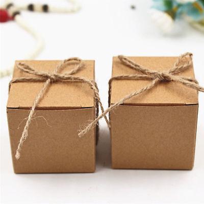 3-50Pcs Kraft Paper Wedding Candies Sweet Box Mini Gift Bag With Hemp Rope (Mini Gift Boxes)