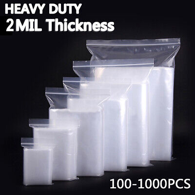 2 Mil Heavy Duty Resealable Clear Plastic Seal Press Zip Lock Poly Zipper Bags