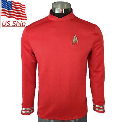Star Trek Beyond Scotty Costume Red Uniform Top Shirt Cosplay Costumes Halloween