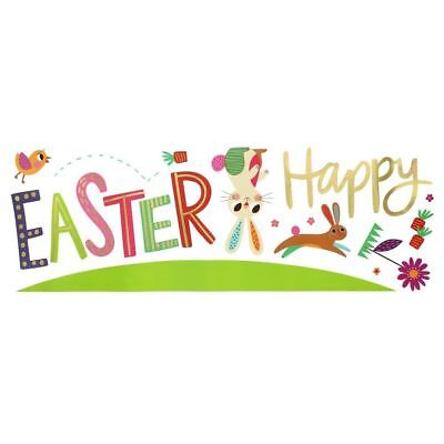 Easter Wall Decorations (Happy Easter Bunny spring Wall  Decals Decorations Decor Sunday school egg)