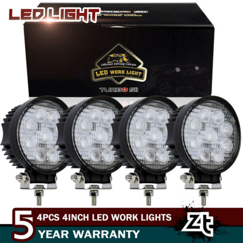 4 PCS 4Inch 27W Round Flood Beam Led Work Light Driving Fog
