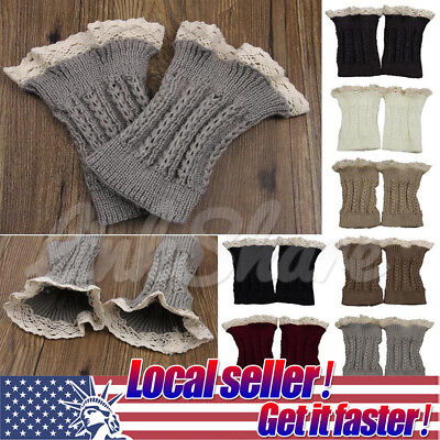 US SELLER Women Crochet Knitted Lace Trim Boot Cuffs Toppers Leg Warmers Winter Lace Boot Topper